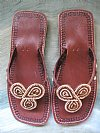 African Beaded Sandals Brown Saphire Stones